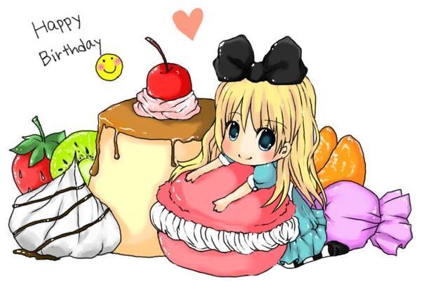 С днем рождения открытка для женщины аниме, новогодняя