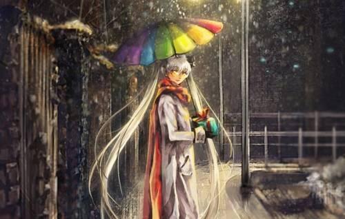 арт девушка с зонтом